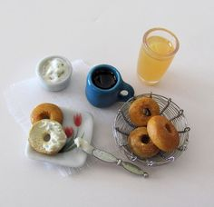 Breakfast Set with Bagels & Herb Cream Cheese by OneSixthSense Breakfast Bagel, Breakfast Set, Liquid Resin, Polymer Clay Miniatures, Good Enough To Eat, Mini Things, Bagels, Miniature Food, Black Coffee