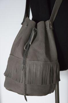 Skrawek Natury - gray leather bag Grey Leather, Leather Bag, Bucket Bag, Gray, Bags, Fashion, Handbags, Moda, Fashion Styles