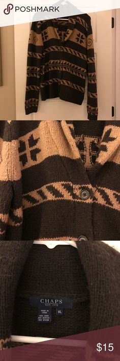 Chaps printed wool blend sweater Brown and tan wool blend sweater. So warm! Chaps Sweaters Cardigans