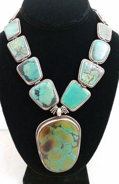 Handmade Tibetan Turquoise Bead & Sterling Silver Reversible Pendant Necklace
