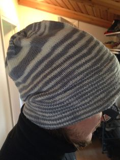 I really like the variation in the stripes. :) Pattern: Modina hat on Rav. Has a folded brim. You could wear it inside out!