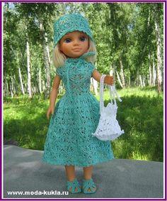 """Узор """"Кленовые листья"""" на платье для куклы Нэнси - http://www.moda-kukla.ru/index.php?option=com_content&view=article&id=115:-q-q-&catid=8:knitting1"""