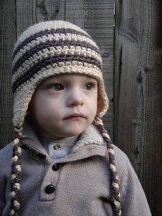 12 to 24 Months Baby Boy Organic Crochet Earflap Hat, Tan and Brown. Very Soft and Cute. Great for Photo Props or with any winter Outfit.. $30.00, via Etsy.