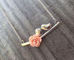 Lovebird Necklace Bird Necklace Flower Necklace by BridalClassique, $12.00