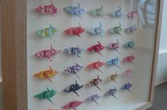 Framed Origami Cranes by Caroline Tremlett, via Flickr Art Auction Projects, School Art Projects, Diy And Crafts, Arts And Crafts, Paper Crafts, 1000 Paper Cranes, 1000 Cranes, Origami Paper, Origami Cranes