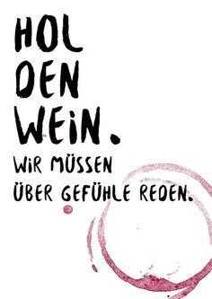 """Postkarte A6 Spruch """"Wein und Gefühle"""" von Beiderhase Grafik und Design auf DaWanda.com"""