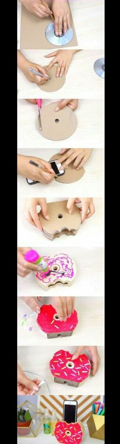 Easy-To-Do Donut Phone Charger/Holder - Gwyl. Cute Crafts, Easy Crafts, Diy And Crafts, Easy Diy, Crafts For Kids, Arts And Crafts, Diy Donuts, Ideias Diy, Charger Holder