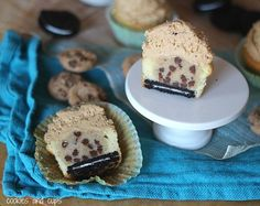 "Cookie Crazy Cupcakes! Make egg-less cookie dough ""filling;"" line cupcake pan, place oreo on bottom, scoop in cake batter, plop in the cookie dough ball, bake and frost! Yumm! I must make this tomorrow!"