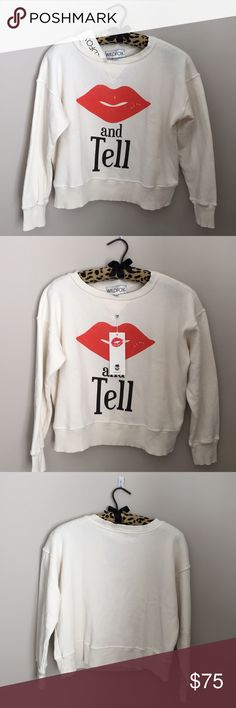 WILDFOX kiss and tell Valentines jumper sweatshirt Brand new with tags sweatshirt with kiss lips.  Perfect for Valentine's Day.  Pet free smoke free posher 💋 Wildfox Tops Sweatshirts & Hoodies