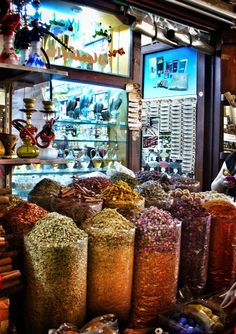 Dubai,spice souk ....the most fun way to get there is to catch an abra across the creek from Bur dubai to Deira
