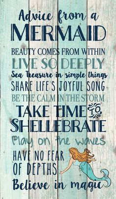 Advice from a Mermaid Pallet Wall Decor Hand-assembled with a weathered, nautical look, this Pallet Wall Sign will bring joyful reminder of the ocean, beach or any summertime vacation - measures 24 x 14 - rustic, weathered designs - canva Easy Home Decor, Handmade Home Decor, Cheap Home Decor, Handmade Signs, Beach House Style, 1001 Palettes, Color Palettes, Pallet Wall Decor, Diy Pallet