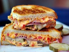 Grilled Pimento Cheese, Ham, and Homemade Pickles Sandwich