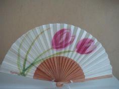 holanda rosa abanico madera de abedul,tela algodón pintado a mano