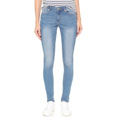 Cheap Monday Mid Snap Jeans ($81) ❤ liked on Polyvore featuring jeans, fresh, light weight jeans, frayed skinny jeans, faded jeans, blue skinny jeans and zipper skinny jeans