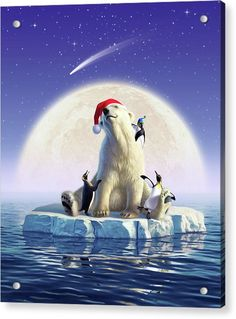 Polar Season Greetings Acrylic Print by Jerry LoFaro. All acrylic prints are professionally printed, packaged, and shipped within 3 - 4 business days and delivered ready-to-hang on your wall. Christmas Drawing, Christmas Art, Xmas, Polar Bear Drawing, 7 Arts, Penguins And Polar Bears, Coca Cola Polar Bear, Art Asiatique, Bear Art