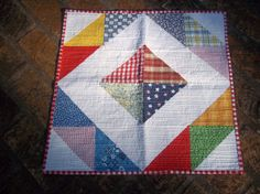 Colorful Quilted Table Topper Doll Quilt Cat Mat by upcycledfabric, $30.00