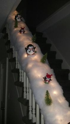 Our skating/sledding penguin banister!  :)