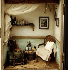 The Room with Old TRUNK (No.1)- Vintage Antique chair -handmade Dollhouse Miniatures. $479.00, via Etsy.