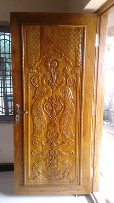 Door Design Photos, Home Door Design, Wooden Main Door Design, Door Design Interior, House Front Design, Wood Design, Table Bases, Dining Table, Wooden Glass Door