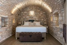 About a year ago, an old building of 1858 was transformed into a olea traditional guesthouse that combines all contemporary comforts. Old Building, Greeks, Traditional, Contemporary, Country, Bed, House, Furniture, Home Decor