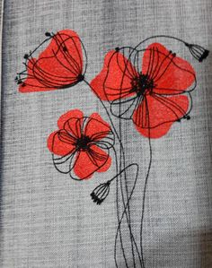 Mohnblumen kostenlos Stickmuster - Diy and Crafts Poppies free embroidery designs Freehand Machine Embroidery, Free Motion Embroidery, Paper Embroidery, Hand Embroidery Stitches, Machine Embroidery Patterns, Crewel Embroidery, Hand Embroidery Designs, Embroidery Techniques, Embroidery Ideas