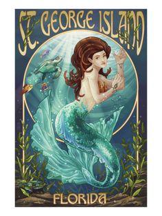 Mermaid - St. George Island, Florida Print by Lantern Press at Art.com