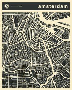 East End Prints - Amsterdam Map Framed Print - White Frame - Black/White Amsterdam Wallpaper, Amsterdam Map, Milan Map, Framed Art Prints, Fine Art Prints, Art Carte, Wall Maps, Map Design, Urban Design