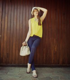 THE FASHION WINGS: Yellow and blue look