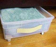 35 Brilliant Ways To Use Plastic Storage Bins #bedroomstorage Craft Storage Ideas For Small Spaces, Bedroom Storage For Small Rooms, Large Storage Bins, Small Room Organization, Under Bed Storage, Decorating Small Spaces, Closet Storage, Storage Containers, Organization Ideas