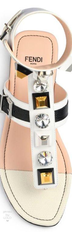 Fendi Embellished Leather Thong Sandals white   LOLO❤︎