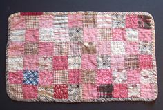 Antique Pieced Calico Feedsack Dress Print Postage Square Miniature Quilt Doll…
