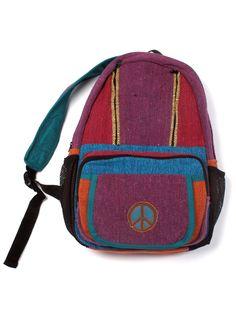 Embroidered Peace Mini Backpack from Blue Sky Design Company, Inc. Mini hemp bookbag with embroidery makes the perfect boho bag! #wearbluesky #Boho