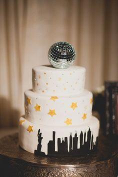 New Years Eve Cake - I love the disco ball topper. :)