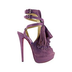 Christian Louboutin Suede Pump with Ruffle and Tassel Detail ❤ liked on Polyvore