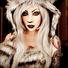 Big Bad Wolf Cosplay. Direwolf cosplay. Game of thrones. Halloween makeup. sexy wolf makeup. costume ideas. halloween ideas. #trashmask