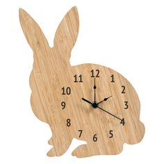 Trend Lab Wooden Bunny Wall Clock, Med Brown