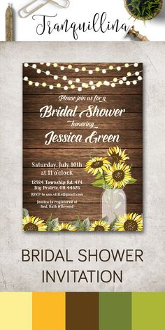 Sunflower Bridal Shower Invitation Printable, Rustic Bridal Shower Invite, Fall Country Party Invitations. Matching Cards, Games, Signs & other printables you can find on following link: tranquillina.etsy.com