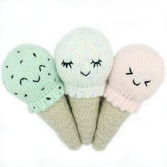Knitting Pattern - Kawaii Ice Cream Cone Baby Rattle, PDF Knitting Pattern, Baby Shower Gift Idea