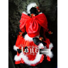 Womens Red Gothic Lolita Winter Christmas Cosplay Party Dress Outfits Costumes SKU-131201