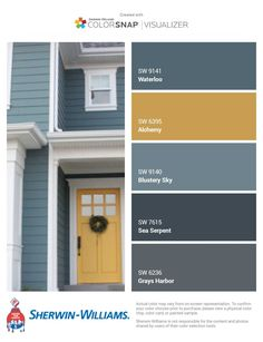 House Design, House, Outside House Colors, Paint Colors For Home, Painted Front Doors, House Exterior, Exterior Design, New Homes, House Paint Color Combination