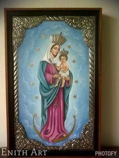 Virgen Maria, Repujado en metal. Pintura al oleo.