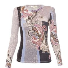 Pashma Lilac Paisley Silk-cashmere Sweater ($298) ❤ liked on Polyvore featuring tops, sweaters, prints, colorful sweaters, cashmere crew neck sweater, paisley print top, silk sweater and silk cashmere sweater