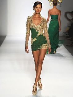Emerald Green (and gold) dress. I just wish this was a full length dress!!!