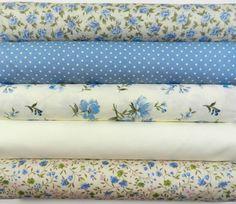 Bundle 5 fat quarters shabby chic blues ivory, floral roses 100% cotton   eBay