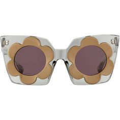 Smoke and Taupe Daisy Frame with Chocolate Mirror Lens Sunglasses ($255) ❤ liked on Polyvore featuring accessories, eyewear, sunglasses, glasses, 70s, markus lupfer, daisy sunglasses, lens sunglasses, mirror glasses and chocolate sunglasses