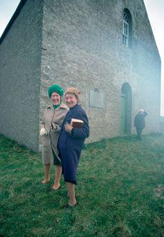 3 Ladies outside Walls Kirk on Hoy, Orkney, Scotland, 1964, photograph by John Bulmer.