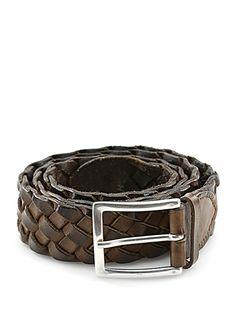 Sergio Gavazzeni - Cinture - Accessori - Cintura in pelle intrecciata, con fibbia silver, altezza 3,5 cm. - FANGO - € 89.00