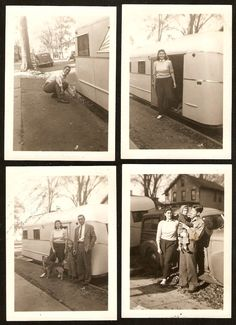 1940's WOODIE Woody WAGON Travel Trailer MOBILE HOME Original Photo LOT of 4   eBay