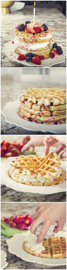 Cake Batter Birthday Waffles! These waffles are so fluffy, fruity, delicious, colorful, and of course, full of that oh-so yummy cake batter-y flavor!   #birthday #birthdayparty #happybirthday #recipe #dessert #treat #birthdayideas #birthdayfoodideas #waffles #birthdaybreakfast #breakfast #yum #confetti #party #celebration #food #foodie #birthdaypartyideas #birthdaydesserts