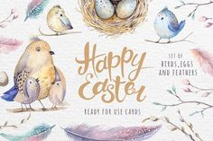 Watercolor happy easter card & DIY by Peace ART on @creativemarket